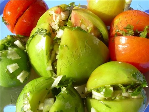 рецепт зелёные помидоры с хреном чесноком и зеленью закуска
